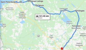 Carte routière du nord de la Russie