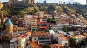 Vue de Tbilissi et de la forteresse de Narikala en funiculaire