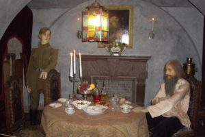 Wax figures of Felix Yusupov and Rasputin at the Yusupov Palace